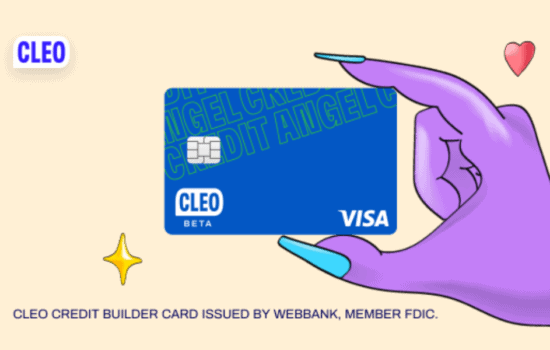 Purple hand holding blue Cleo card.